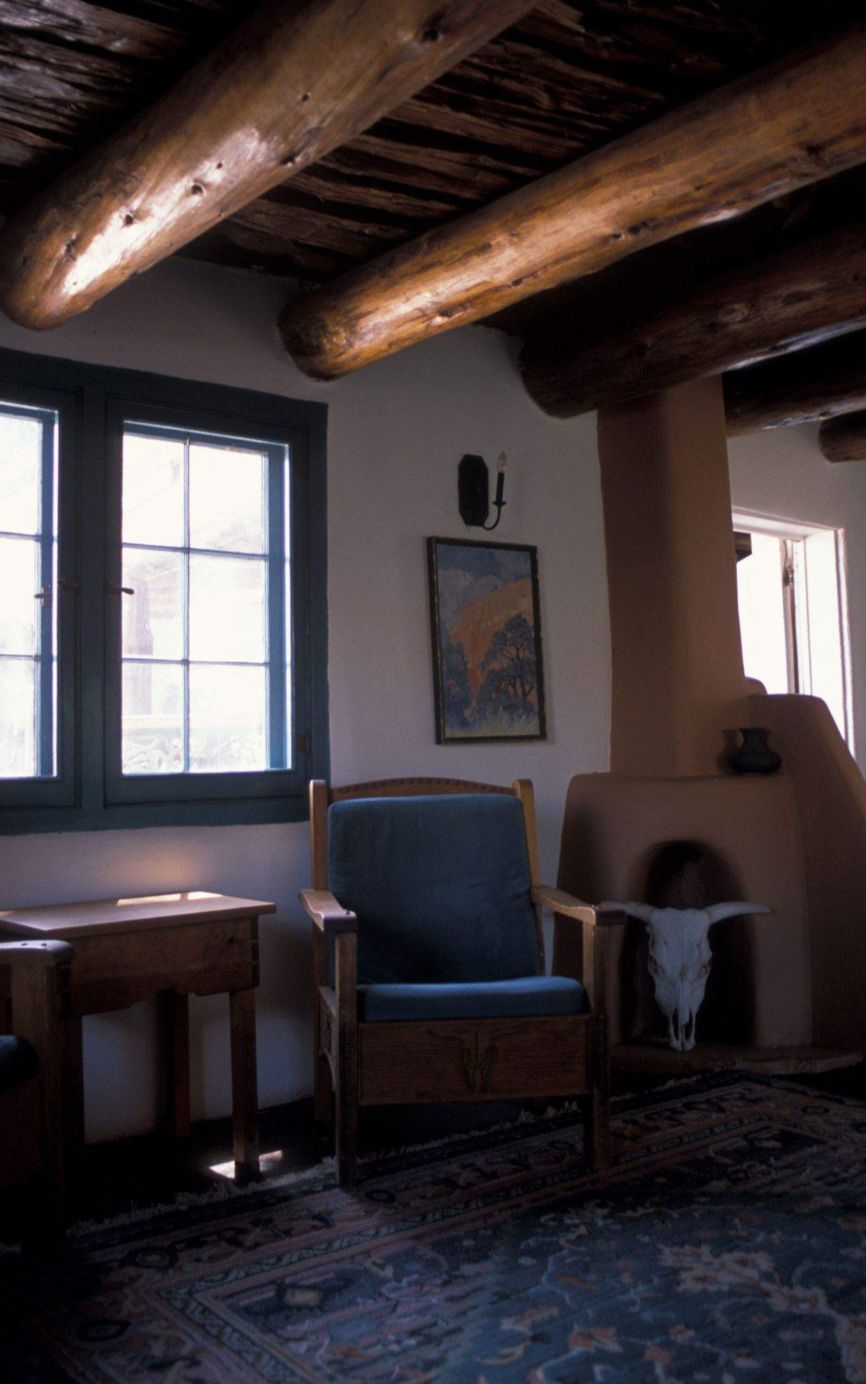 The Interior Of Ghost House In The Restored Section Features  Artisan Crafted Furniture And Original Ponderosa Pine Beams Supporting A  Ceiling Of Cut Latilla ...