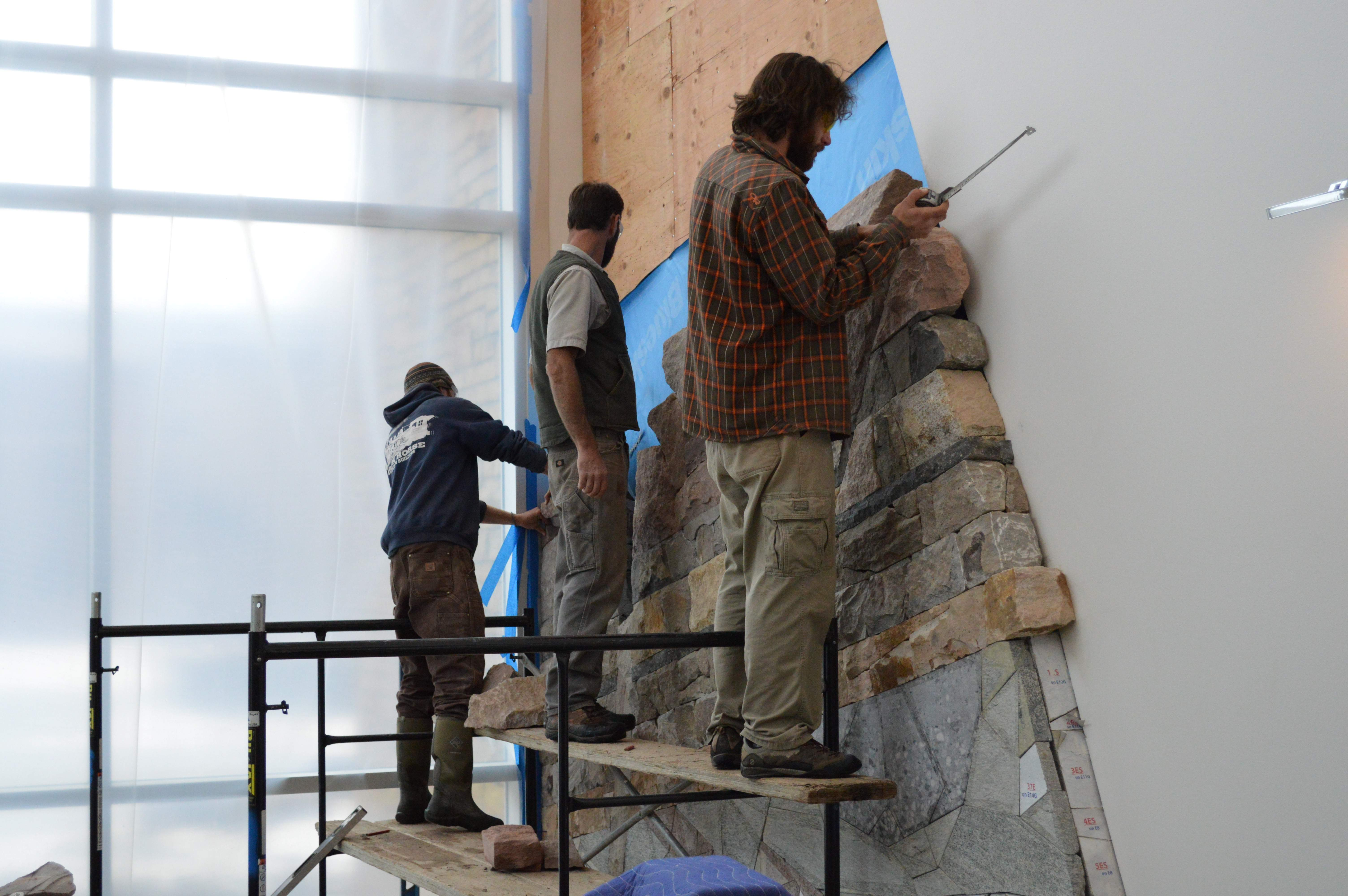 Masons From Canyon Landscape U2013 From Left, Walker Rodham, Erik Lewis And Van  Lancaster U2013 Build The Geologic Wall Of Time In The New Geosciences, ...