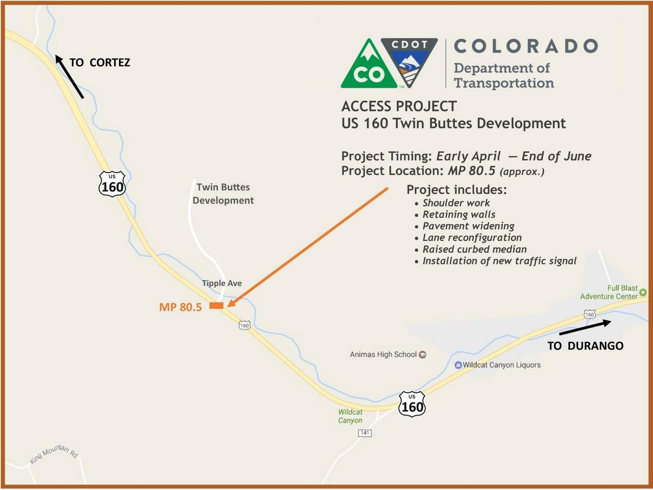 Construction To Begin For New Signal On Highway  At Twin Buttes - Us highway forecast map
