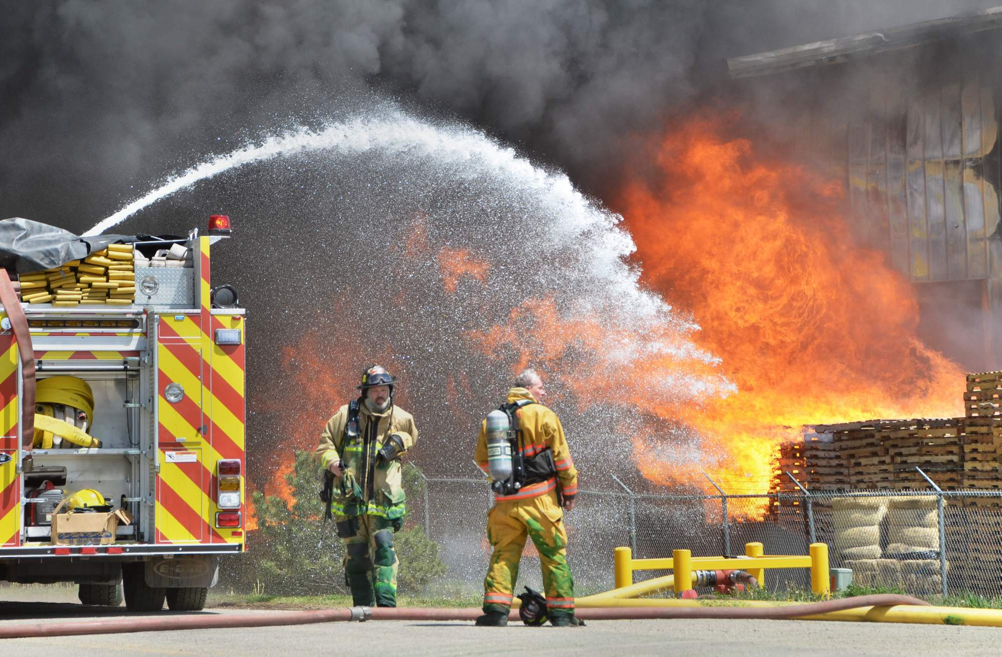 MANCOS – Multiple agencies battled a large fire...