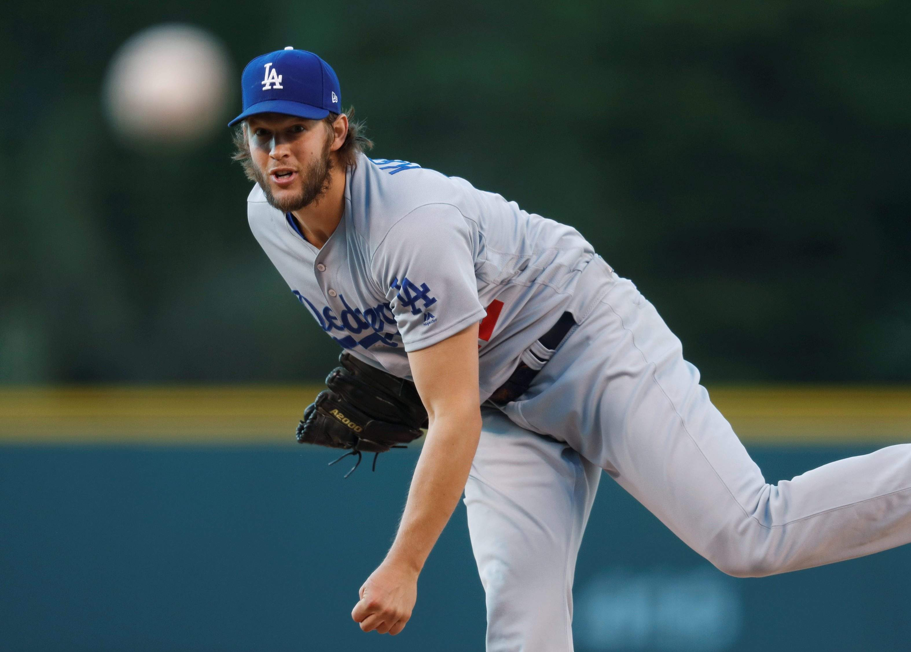 Los Angeles Dodgers Starting Pitcher Clayton Kershaw Throws To A Colorado Rockies Batter During The First Inning Of Baseball Game Friday May 12 2017