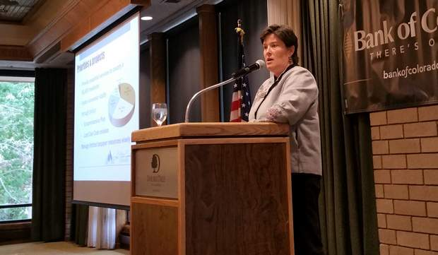 La Plata County Commissioner Julie Westendorff addresses a crowd at the Durango Chamber of Commerce event on Wednesday at the DoubleTree Hotel.