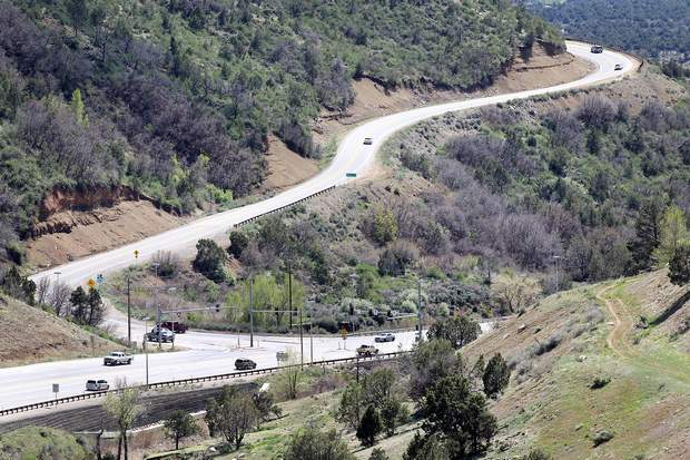 Looking south: U.S. Highway 550 winds up the steep Farmington Hill from U.S. Highway 160 east of Durango.