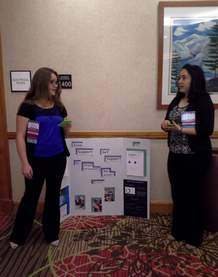 Ignacio High School students Ada Wilmer and Chloe Velasquez rehearse together before presenting their project at the FCCL state competition in Denver. The students won a silver medal for their project on opioid addiction.
