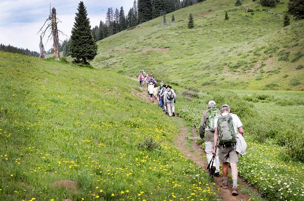 Hikers make their way along Elbert Creek Trail. On Saturday, a service hike will be held on the trail to celebrate the inaugural Colorado Public Lands Day.
