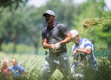 Brooks Koepka hits a ball out of the rough on the ninth hole during the first round of the Byron Nelson PGA golf tournament at TPC Four Seasons Resort in Irving, Texas, Thursday, May 18, 2017.