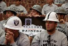 Laborers union members attend a meeting of the Las Vegas Stadium Authority board, Thursday, May 18, 2017, in Las Vegas. The public entity that oversees the proposed stadium where the Raiders want to start playing in 2020 has approved a conditional lease agreement for the facility.