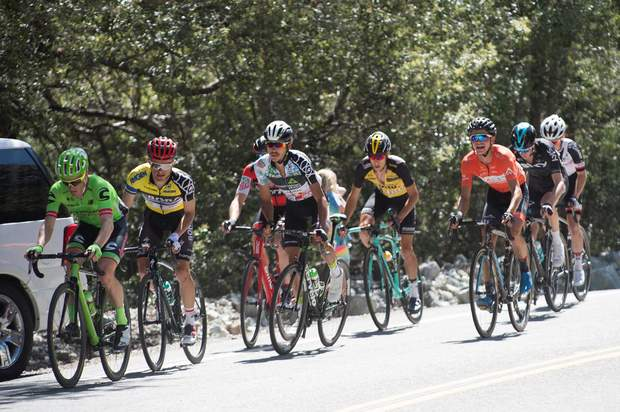 Durango's Sepp Kuss, orange jersey, finished 10th on Stage 5 of the Tour of California on Thursday. The stage went from Ontario on a big climb up Mt. Baldy.