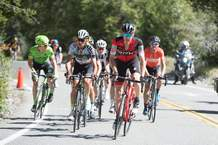 Durango's Sepp Kuss, orange jersey, finished 10th on Stage 5 of the Tour of California on Thursday. The stage went from Ontario on a big climb up Mt. Baldy. He jumped to 26th in the overall standings and moved from ninth to fourth in the Best Young Rider's standings with two stages to race.