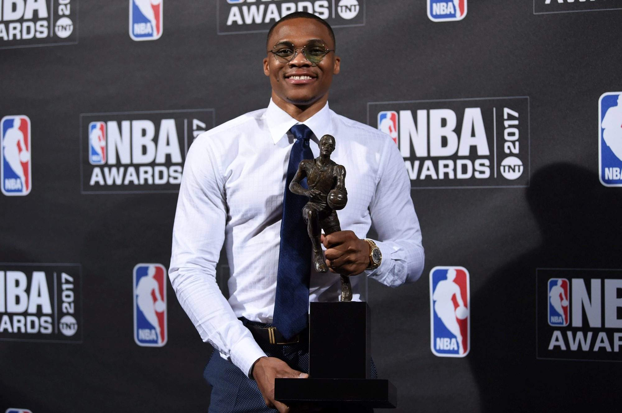 Kia NBA Most Valuable Player Best Style Game Winner Award Russell Westbrook Poses In The Press Room At 2017 Awards Basketball City