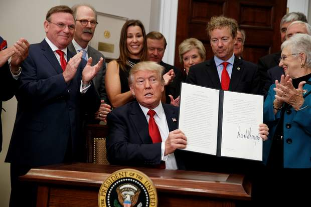President Donald Trump shows an executive order on health care that he signed in the Roosevelt Room of the White House on Thursday in Washington.
