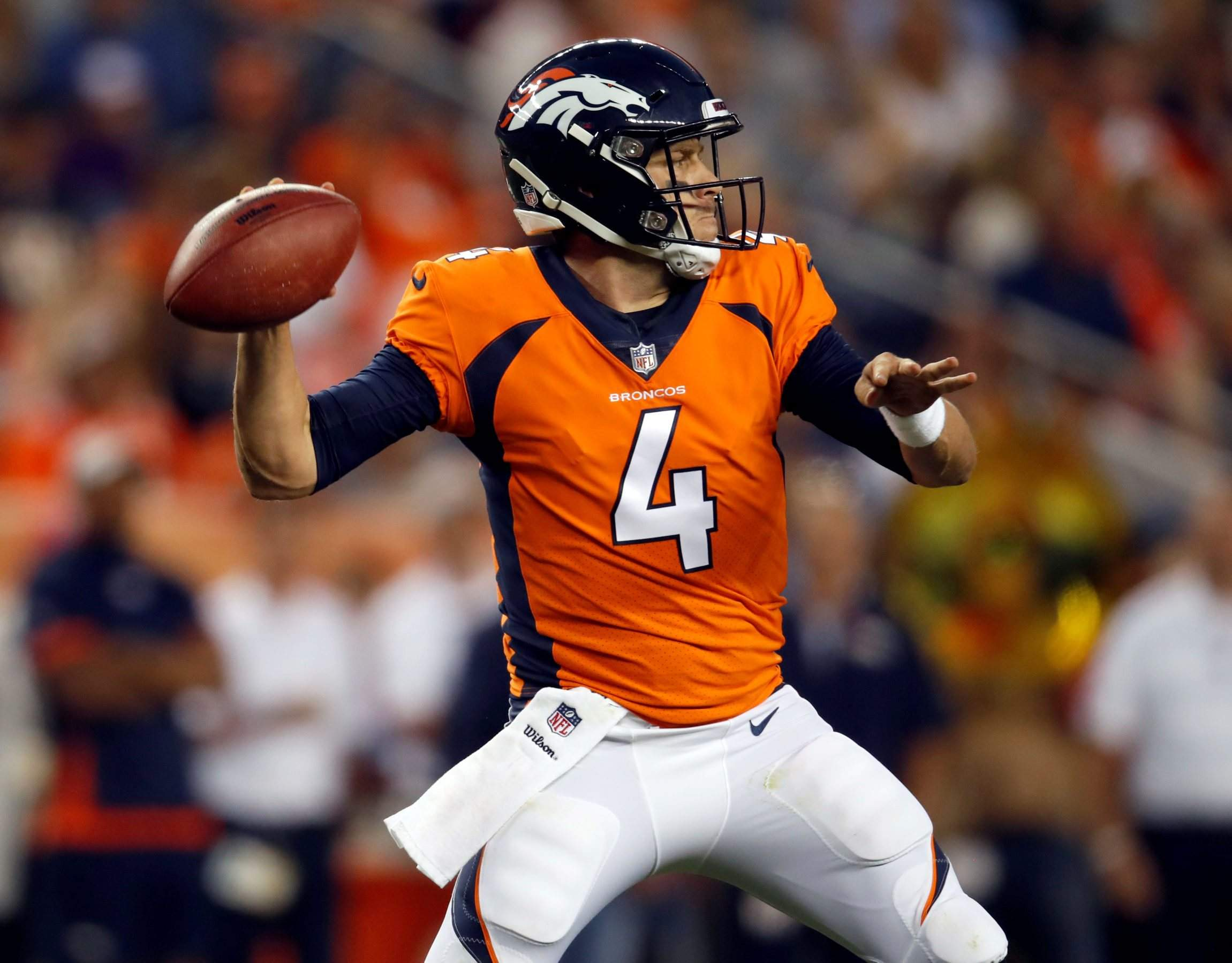 Denver Broncos Quarterback Case Keenum  Throws Against The Chicago Bears During The First Half Saturday In Denver