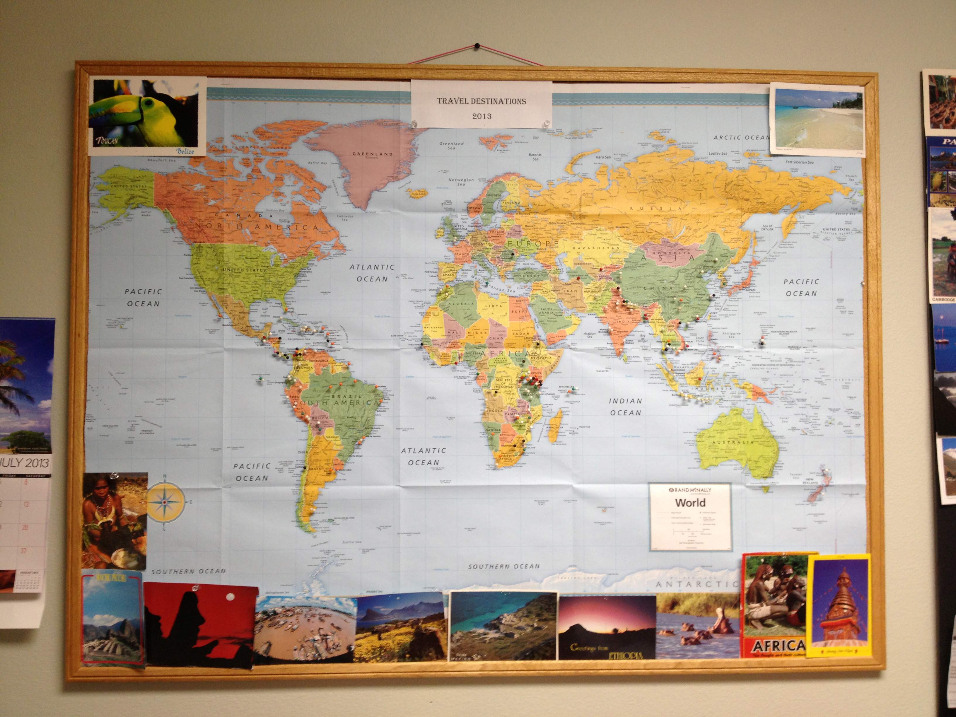 this is a larger view of the world map showing where durango residents have traveled and its a variety that certainly will pique interest