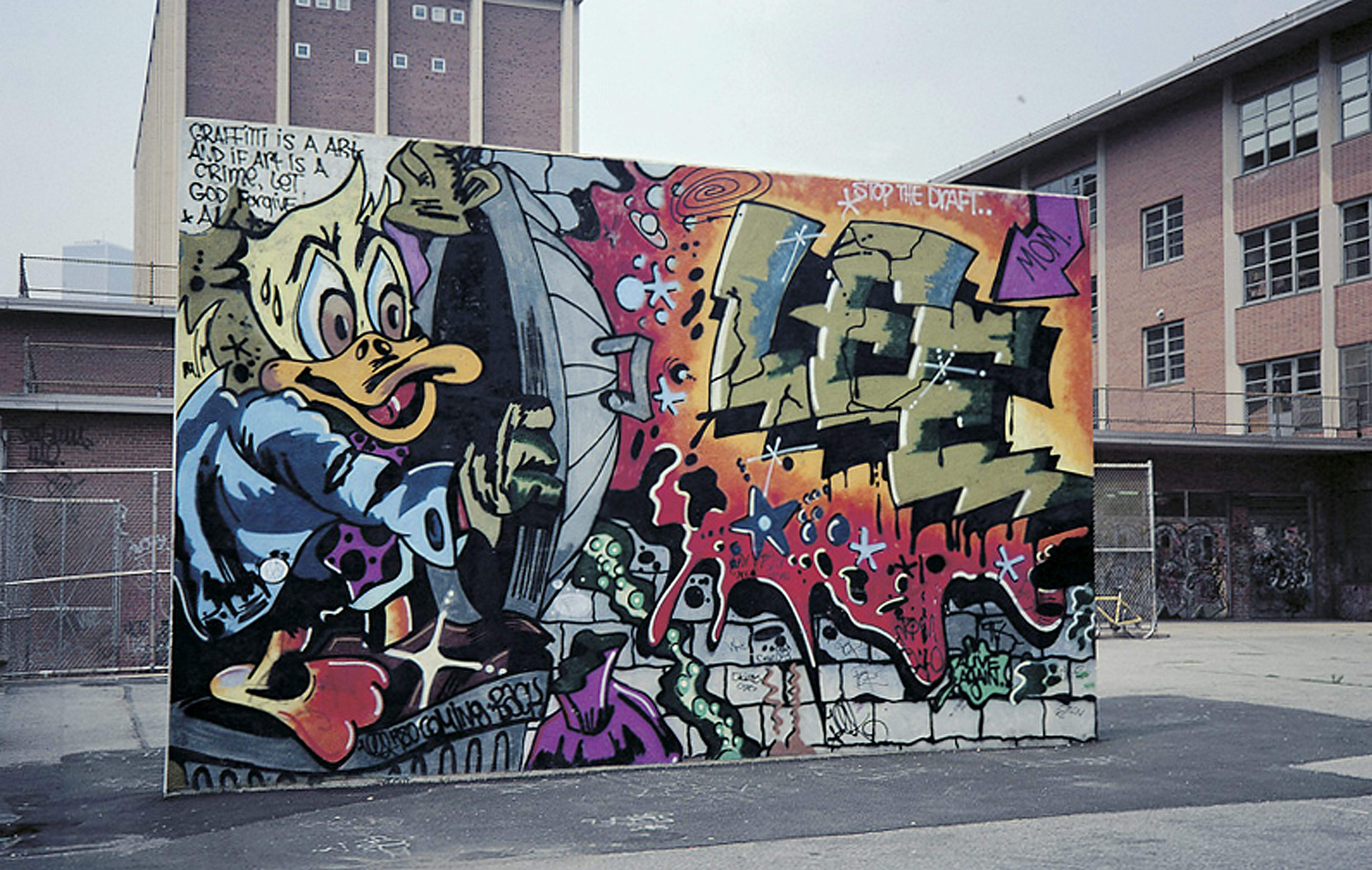 In This 1978 Photo The Graffiti Mural Howard The Duck Is Painted On A Handball Court In New York The Lee Quinones Mural Was A Pivotal Work That Helped