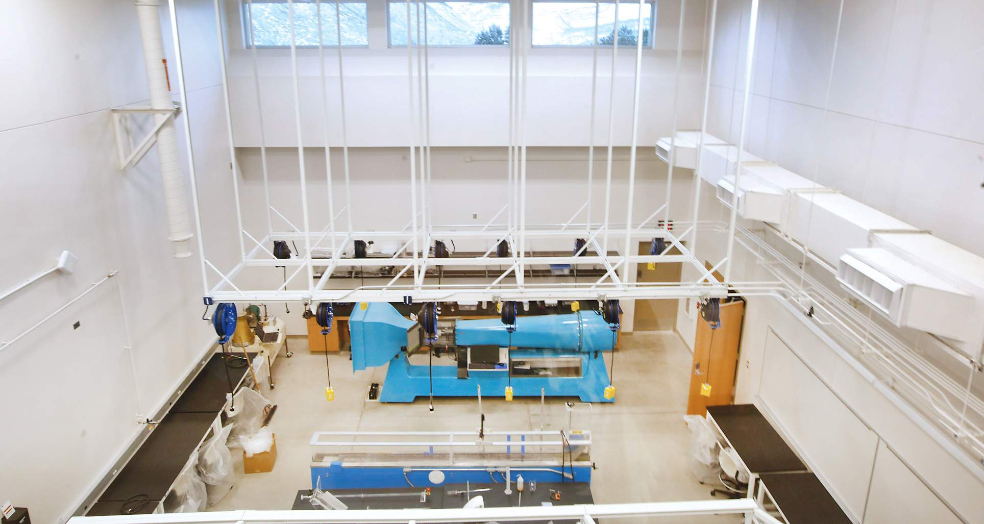 A Birdu0027s Eye View Of The Fluids Laboratory In The New Geosciences, Physics  And Engineering Hall At Fort Lewis College Shows The Wind Tunnel, Rear, ...