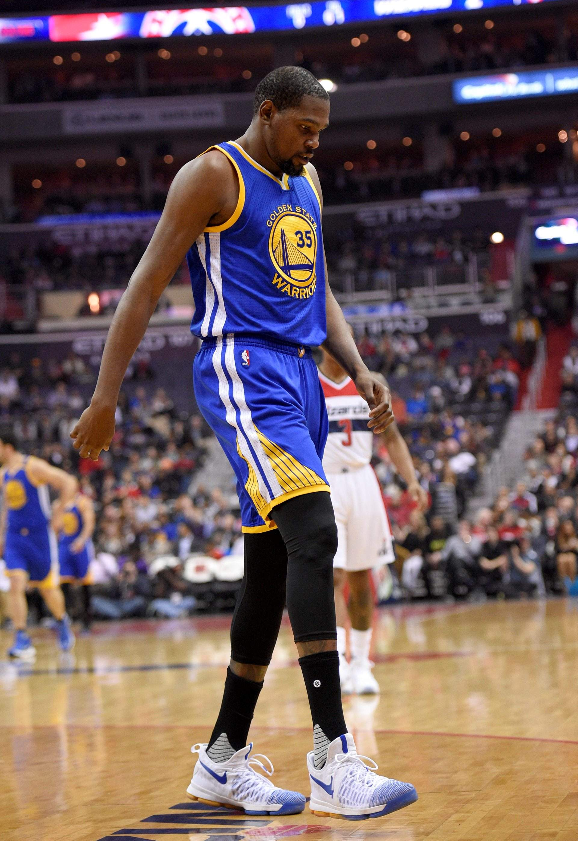 17c290776094 Golden State Warriors forward Kevin Durant (35) hyperextended his left knee  and exited the Golden State Warriors  game at the Washington Wizards for  good ...