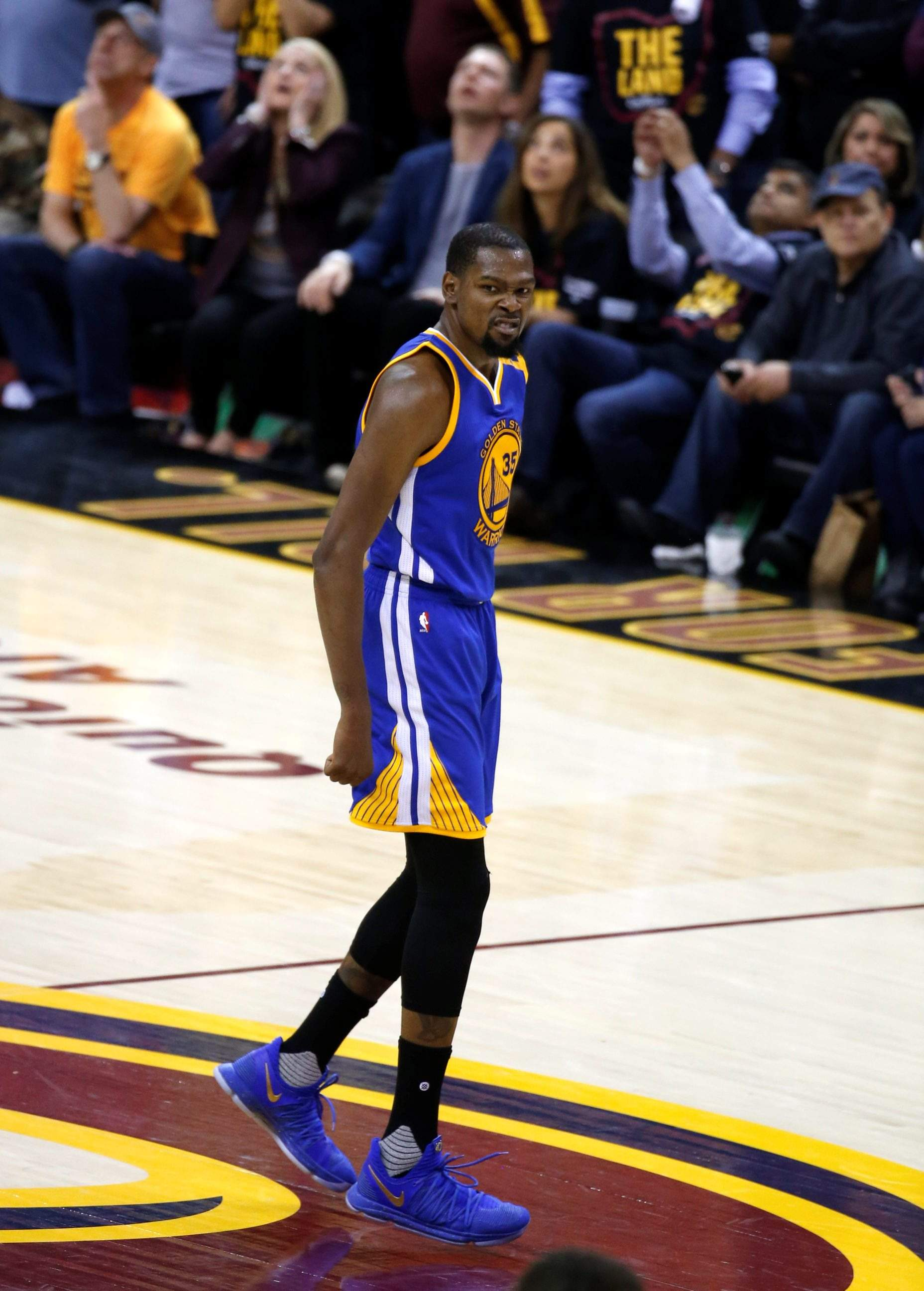 fadf3d0cc922 Golden State Warriors forward Kevin Durant (35) celebrates after hitting  the go-ahead basket in Game 3 of the NBA Finals in Cleveland.