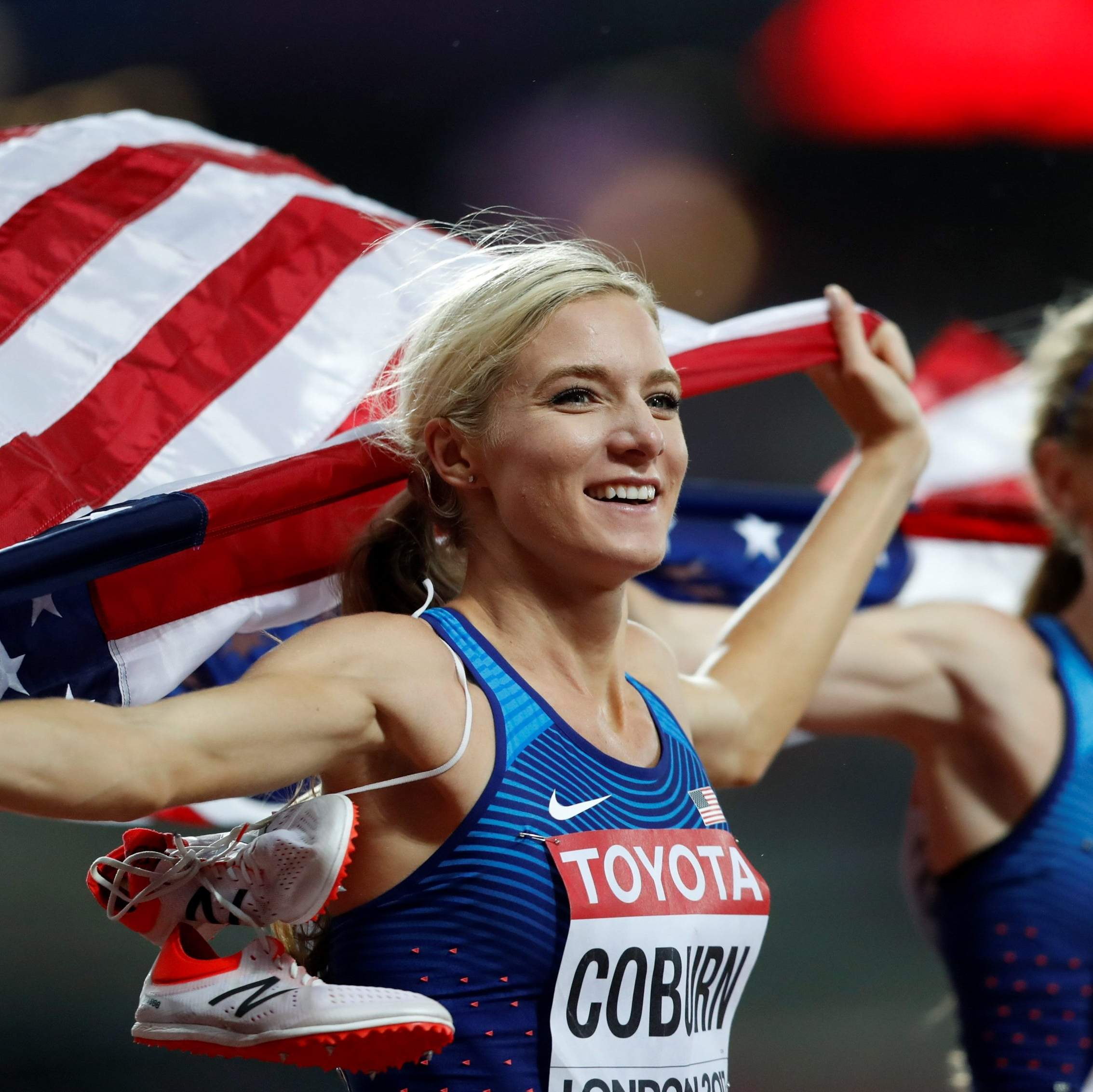 a06980f861 United States  Emma Coburn celebrates with United States  silver medal  winner Courtney Frerichs