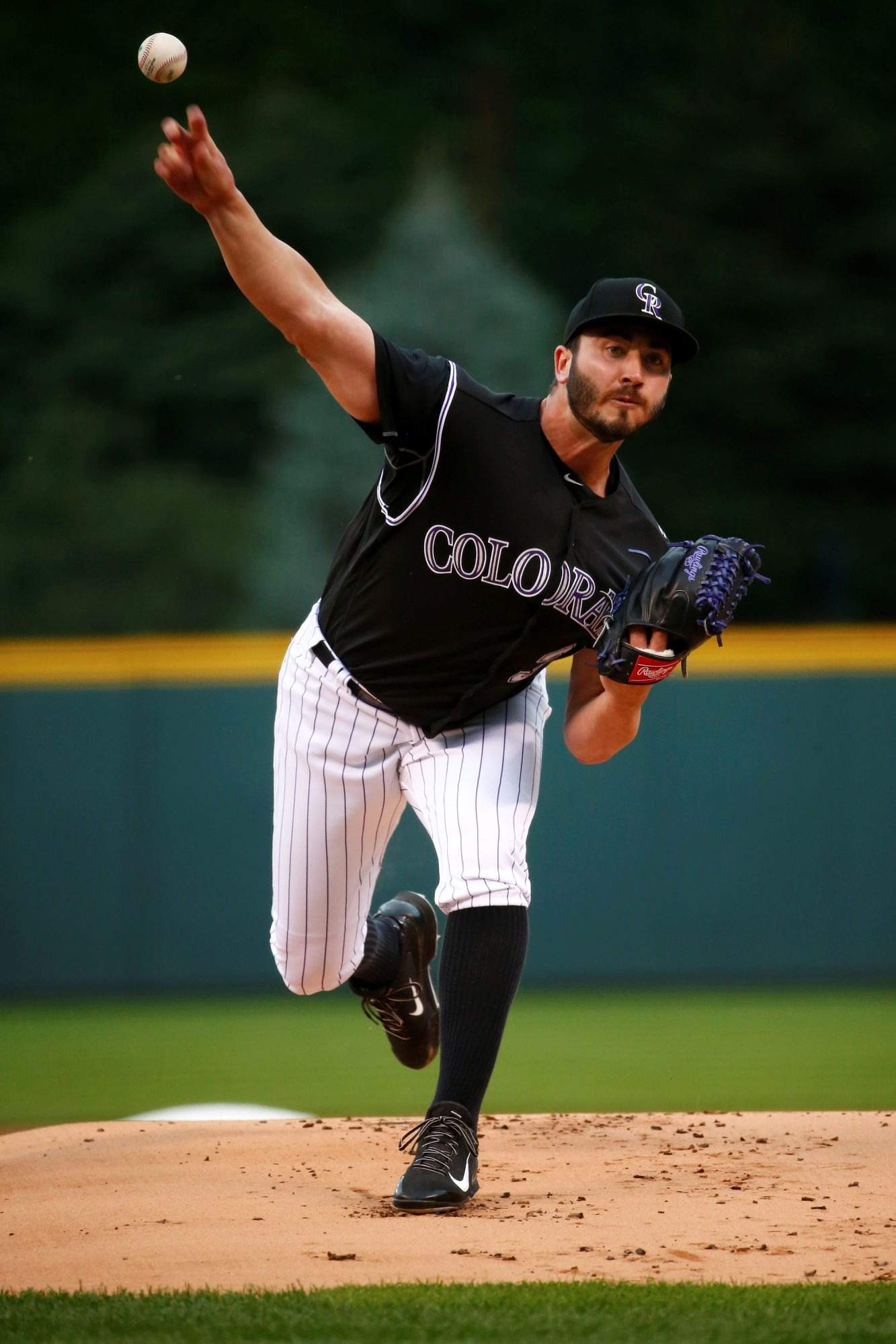 3bfbdeeffd03d Colorado Rockies starting pitcher Chad Bettis throws to the plate during  the first inning of Monday s game against the Atlanta Braves in Denver.