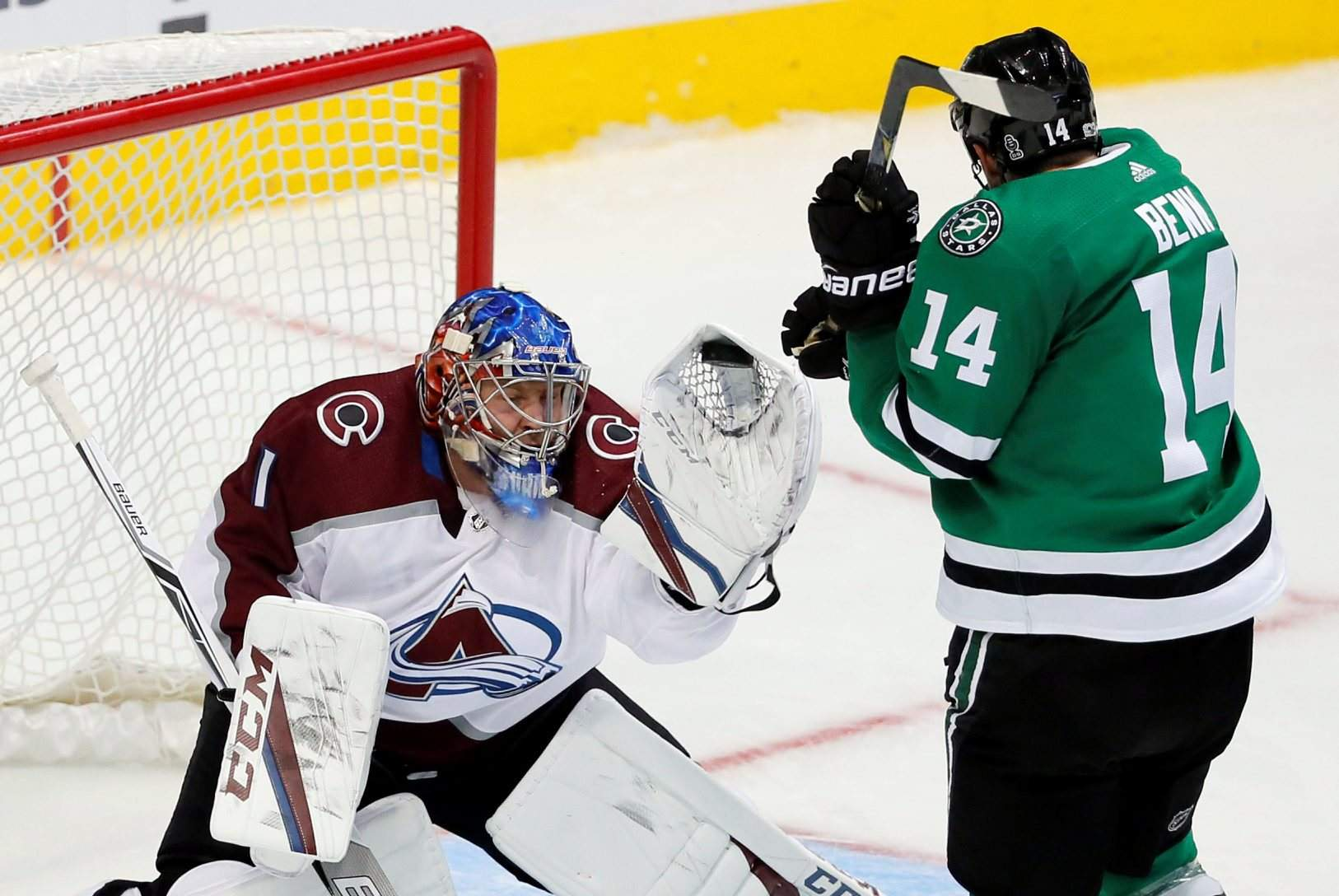 3aabe4d280a Colorado Avalanche goalie Semyon Varlamov (1) gloves a shot under pressure  from Dallas Stars left wing Jamie Benn (14) in the third period of a  preseason ...