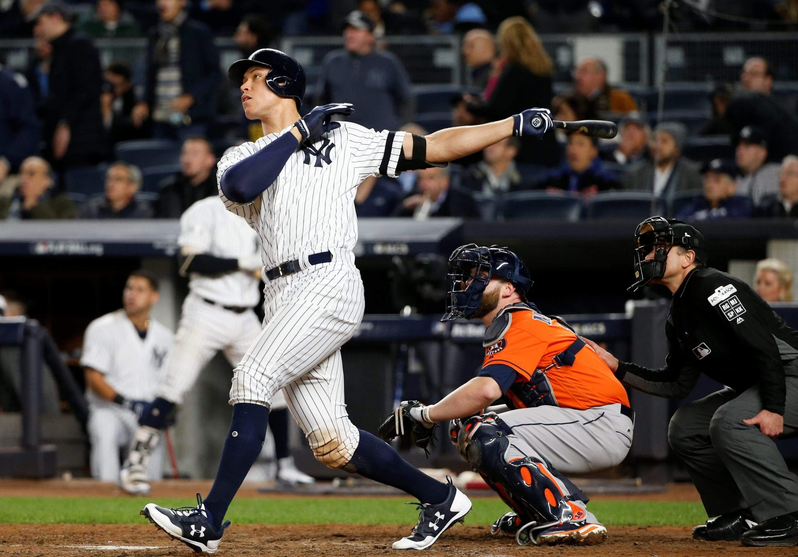 ca4bb1d57 New York Yankees  Aaron Judge hits a home run during the seventh inning of  Game 4 of baseball s American League Championship Series against the  Houston ...