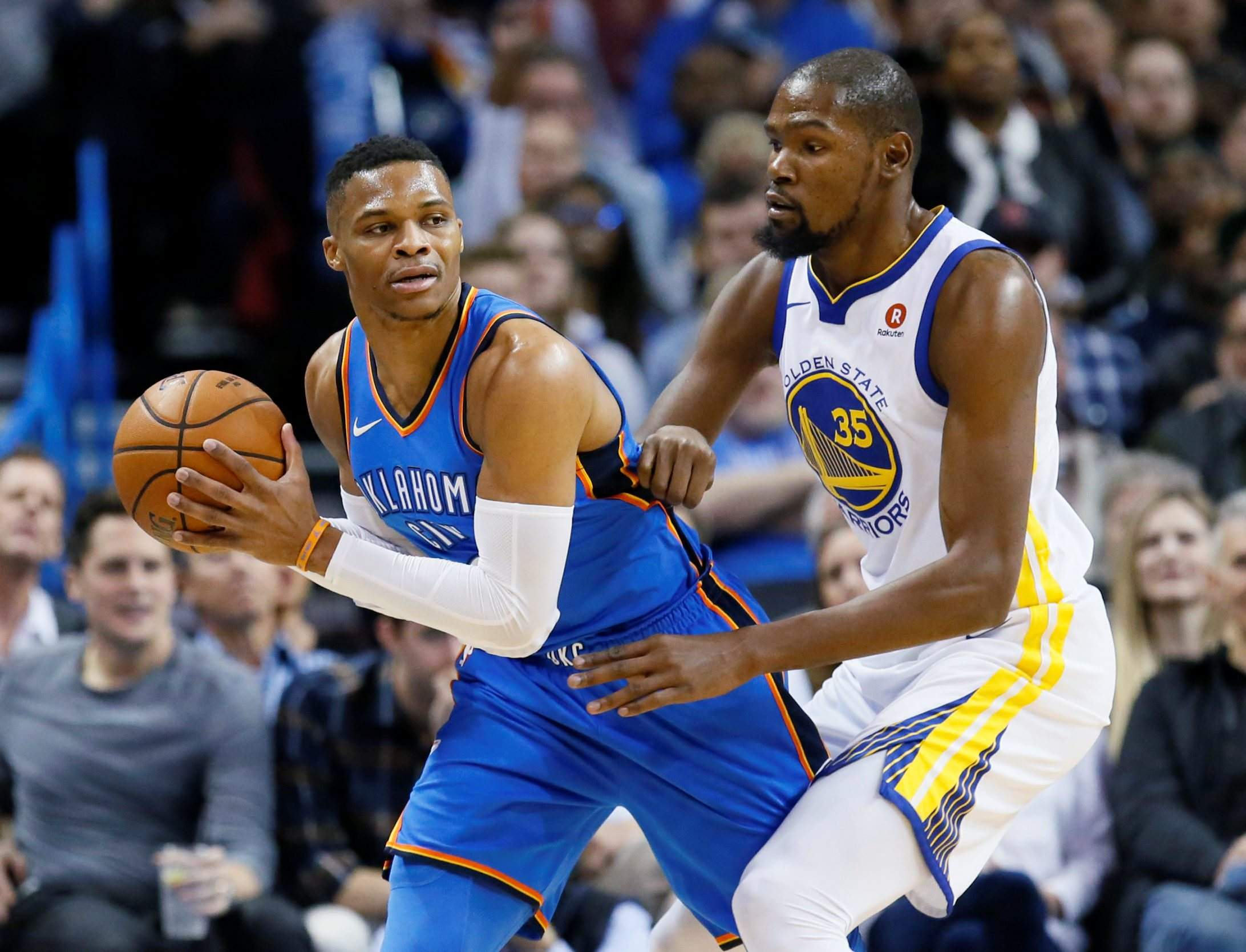 7bcf7e4b6877 Russell Westbrook s 34 points lead Thunder past Kevin Durant s Warriors