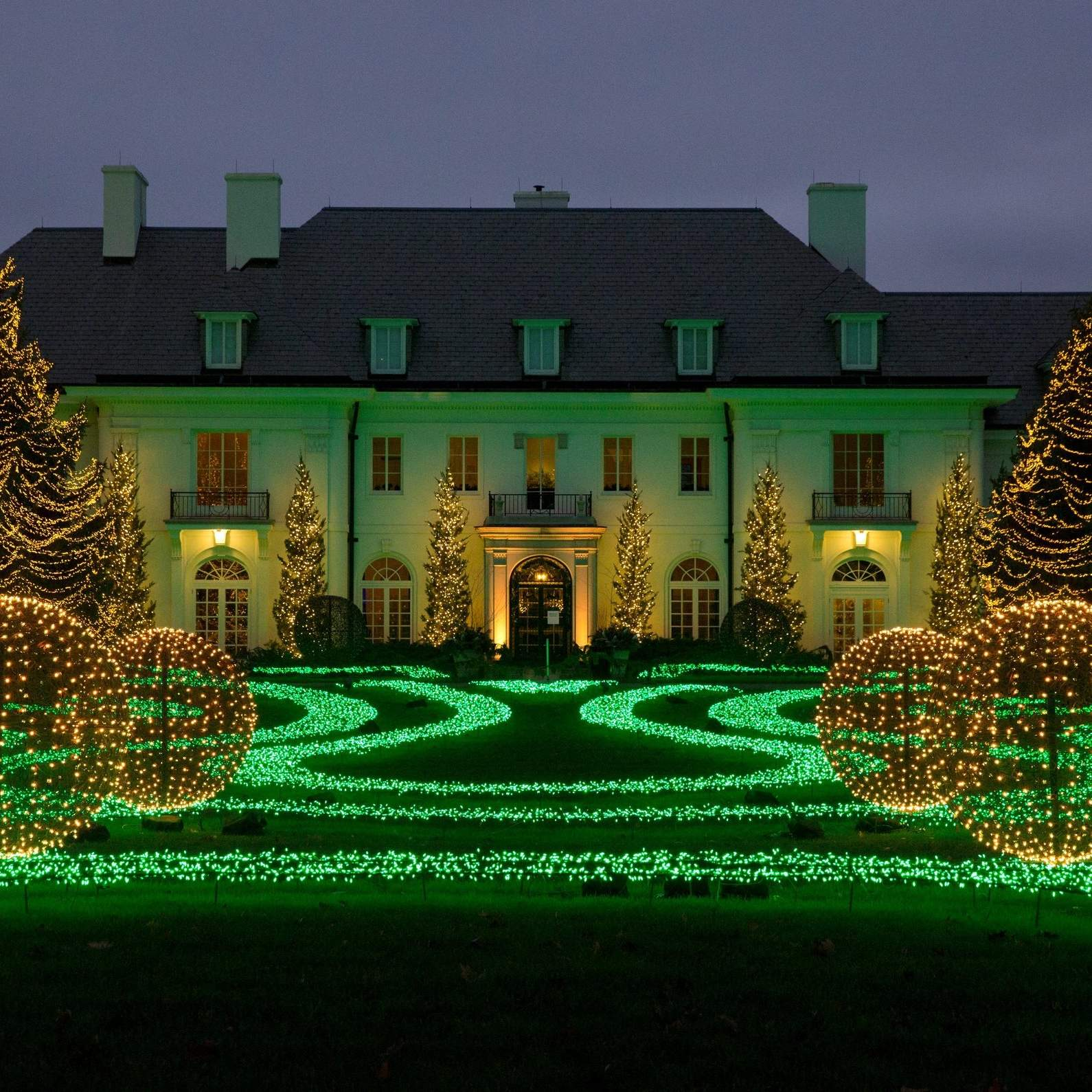 The Lilly House at Newfields is part of the Winterlights holiday light display on the museum's grounds in Indianapolis. The display on the lawn of the home ...