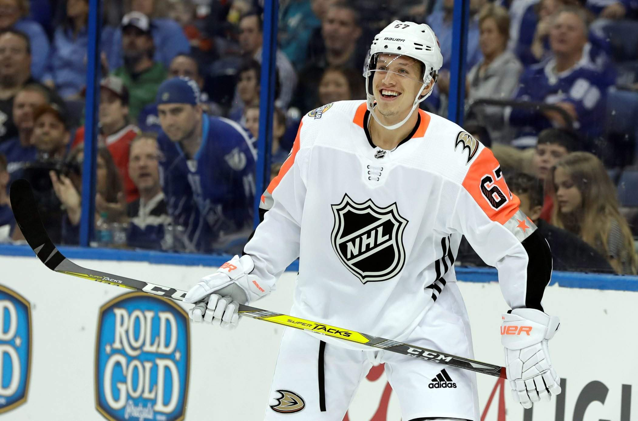 Pacific Division s Rickard Rakell of the Anaheim Ducks celebrates after  scoring during the NHL hockey All-Star game with the Atlantic Division  Sunday in ... b858f9840