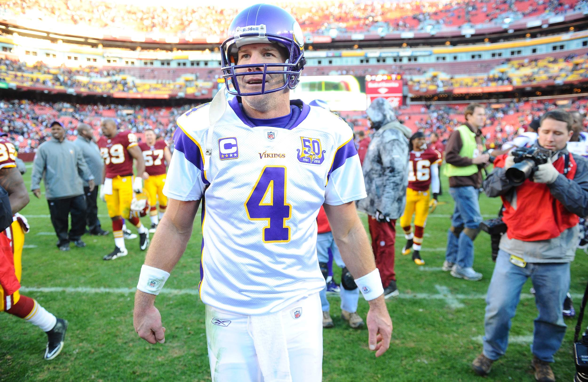 brett favre cringes when he sees youth football  quarterback brett favre leaves the field following a 2010 win over the washington redskins he now worries about concussions traumatic brain injuries