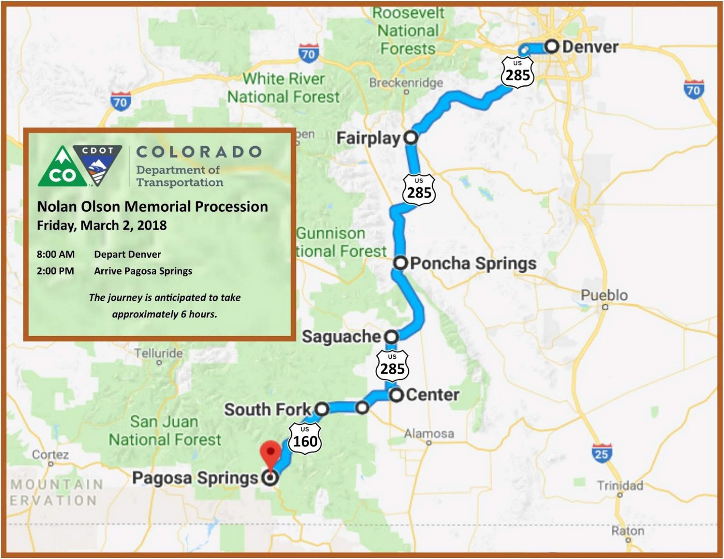 CDOT will carry worker\'s ashes from Denver to Pagosa Springs