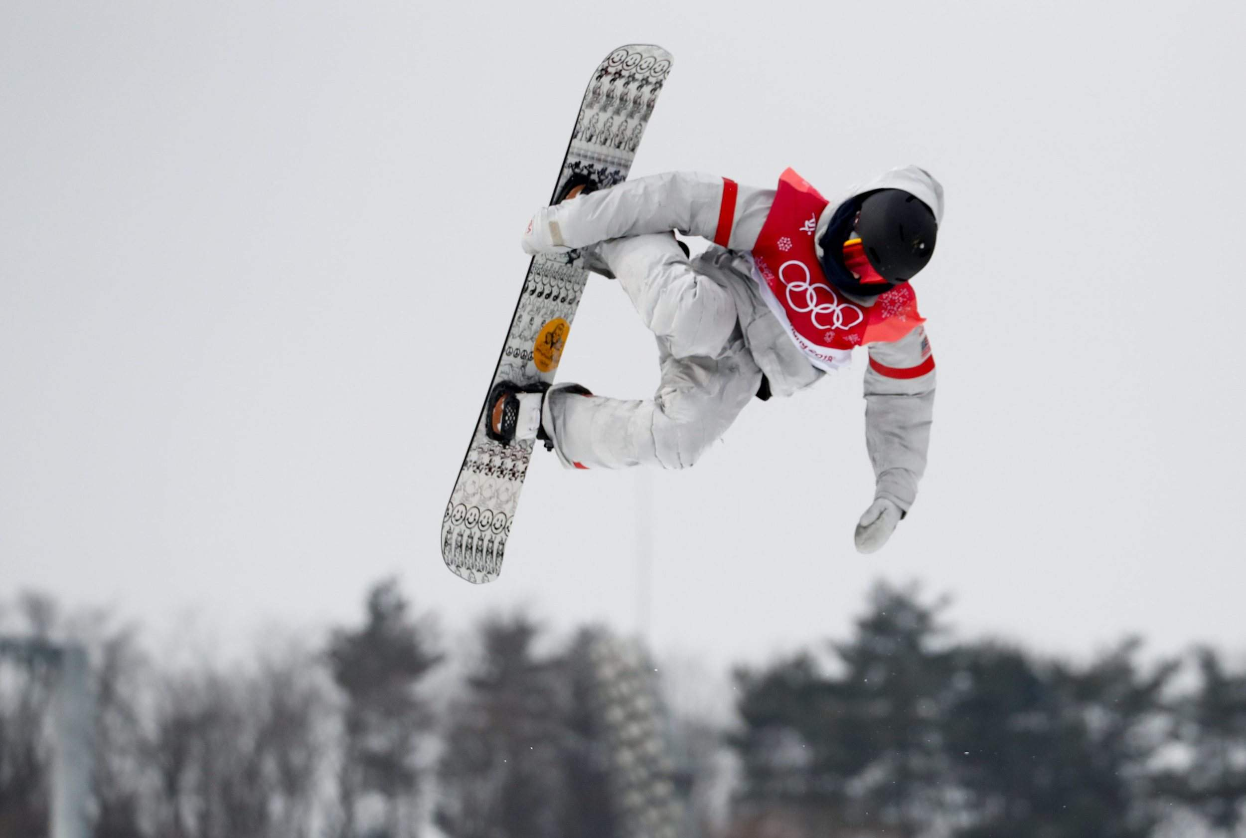 c18a868bc126 Kyle Mack of the United States jumps during the men s Big Air snowboard  competition Saturday at the 2018 Winter Olympics in Pyeongchang