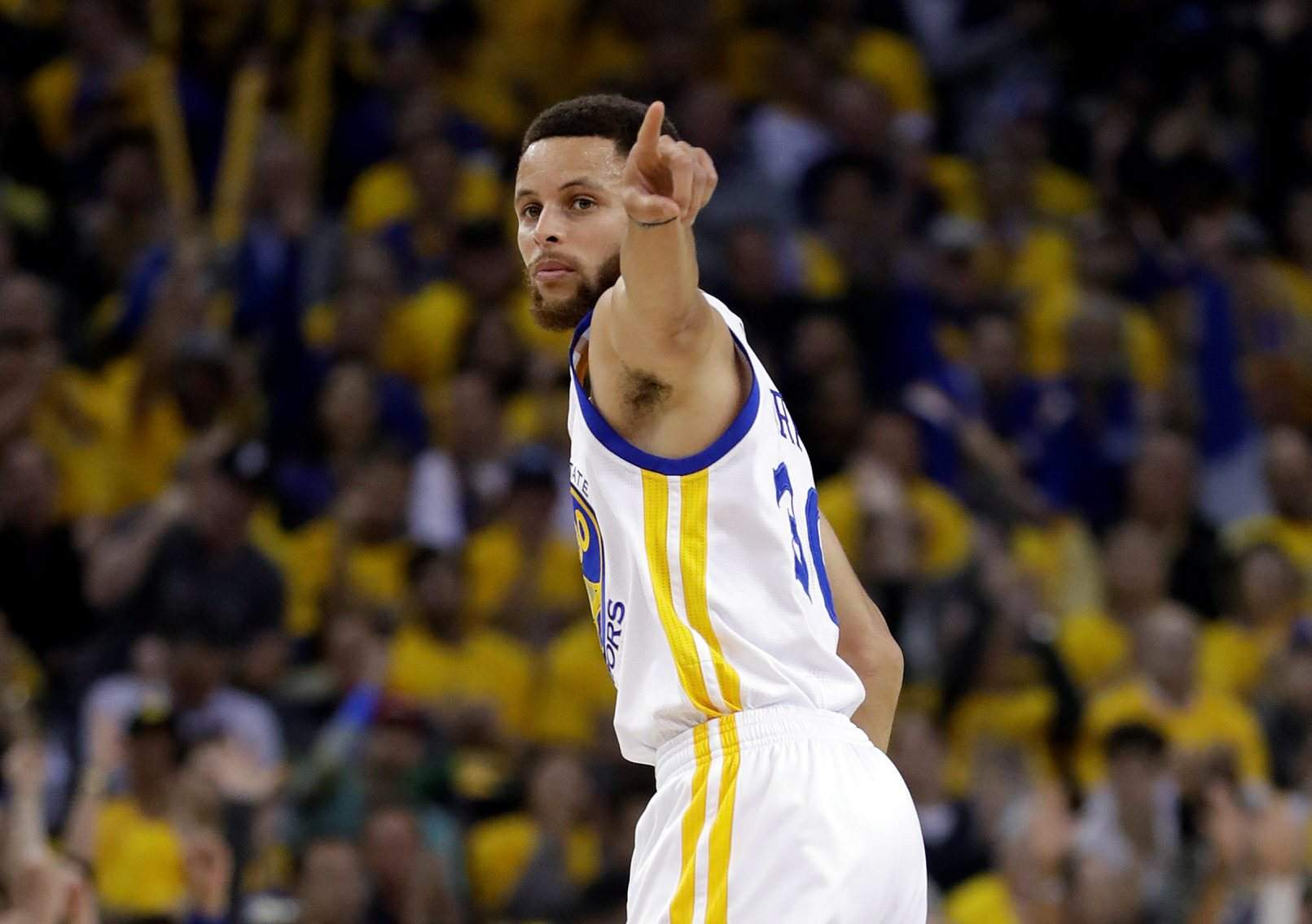 Durango student battling cancer will meet nba hero stephen curry golden state warriors guard stephen curry signals after scoring against the san antonio spurs during the first half of game 2 of the 2017 western conference m4hsunfo