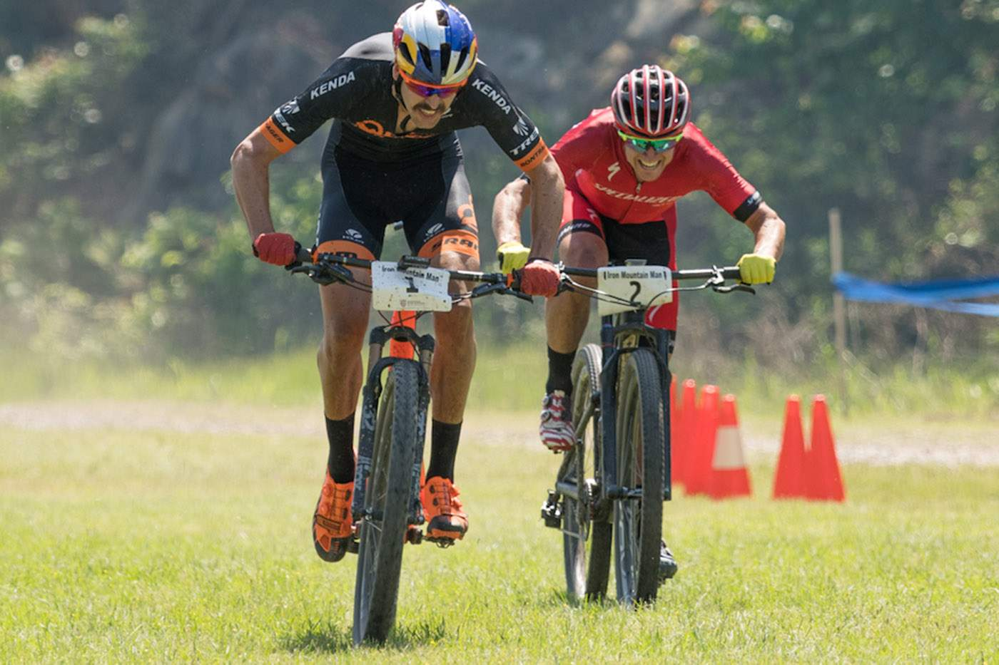 a75d91a5913 Durango's Payson McElveen, front, and Howard Grotts were in a spring to the  finish at the USA Cycling Marathon Mountain Bike National Championships on  ...