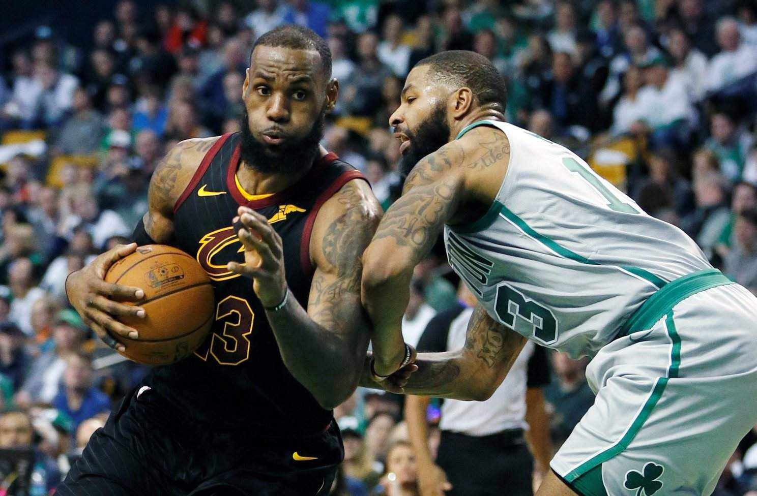 1b999cc7355 Cleveland Cavaliers  LeBron James (23) drives against Boston Celtics   Marcus Morris (13) during the third quarter of an NBA game on Feb. 11 in  Boston.