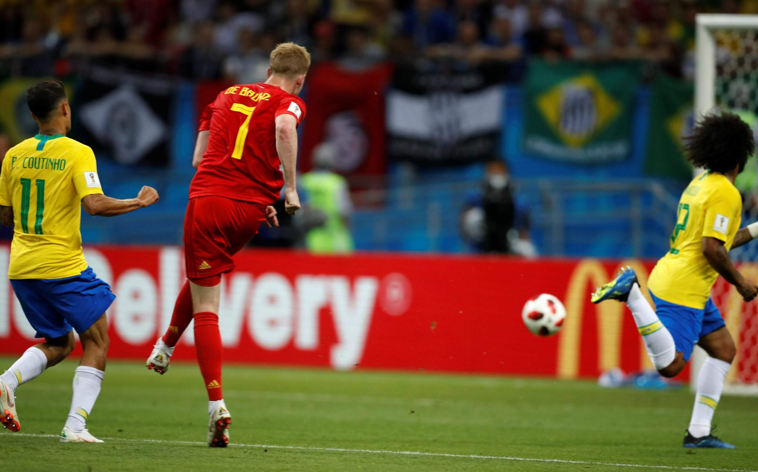 00bf58b3155 Belgium's Kevin De Bruyne scores his side's second goal during the  quarterfinal match between Brazil and Belgium at the World Cup in the Kazan  Arena on ...