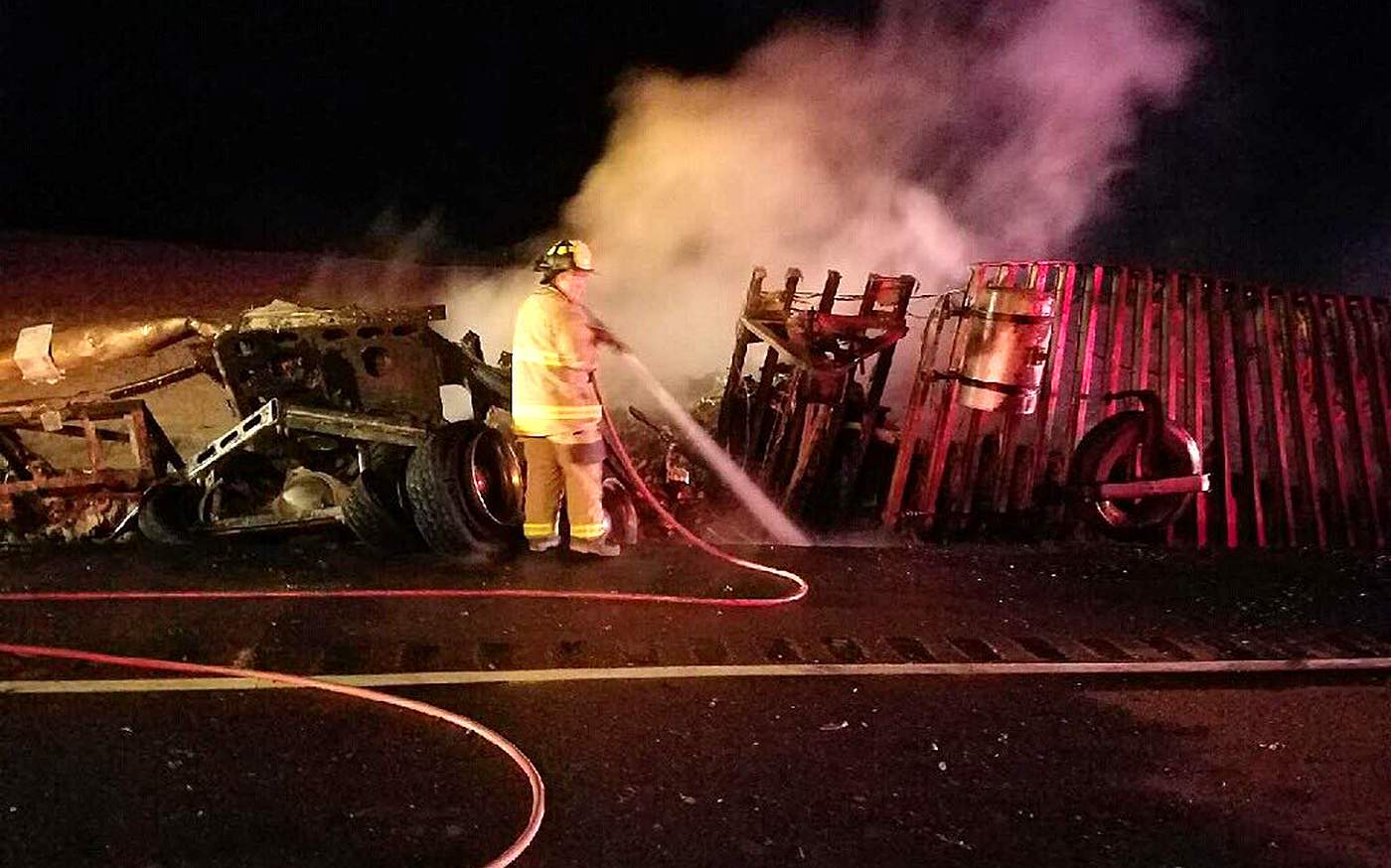 Two major highways closed by semitrailer crashes Wednesday night