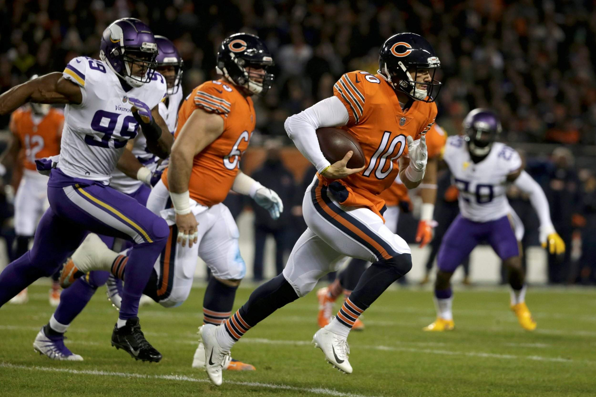 Chicago Bears quarterback Mitchell Trubisky runs during the first half of  Sunday night s game against the Minnesota Vikings in Chicago. af350ca92