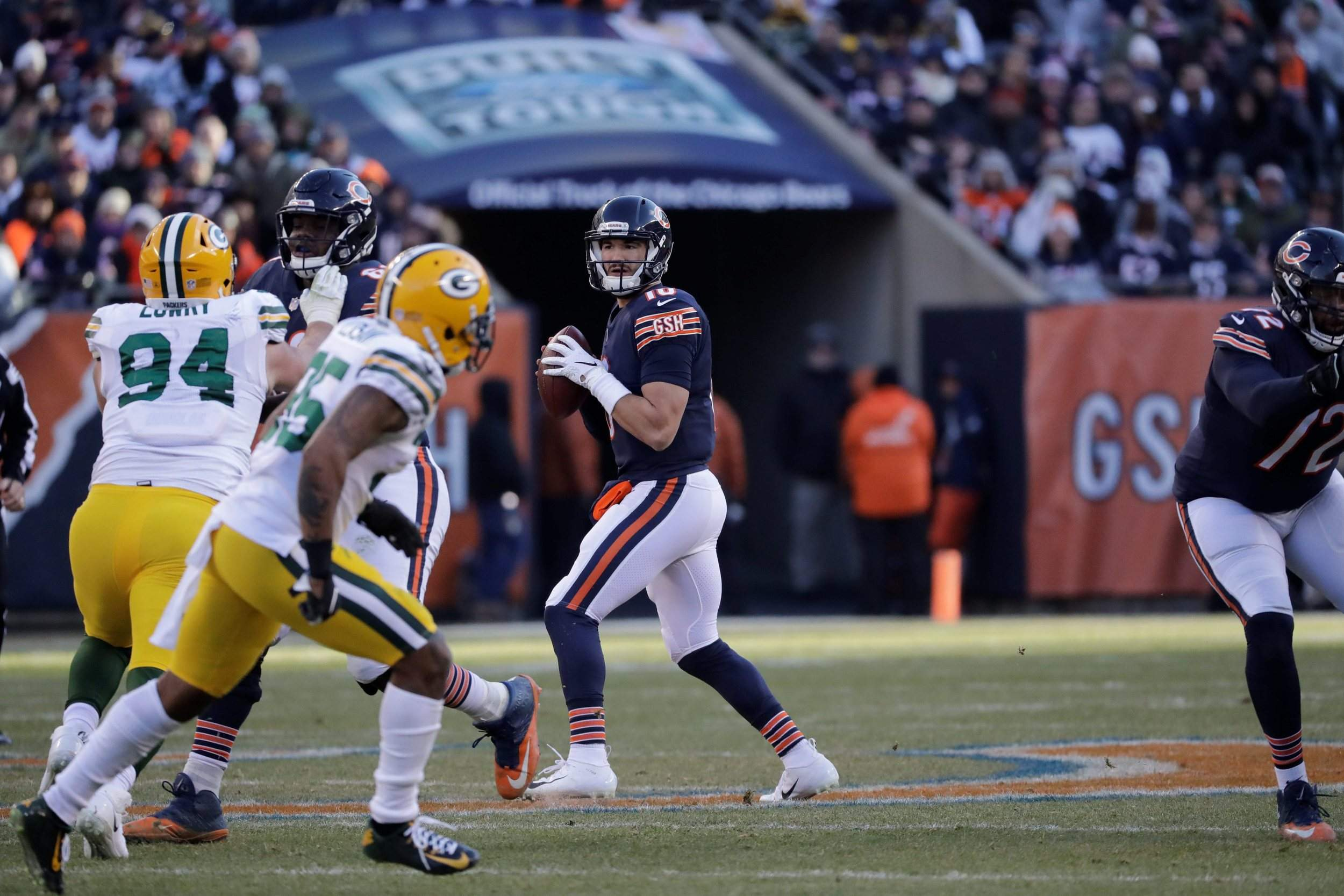 9961c60adde Chicago Bears quarterback Mitchell Trubisky looks for a receiver during the  second half of Sunday s game against the Green Bay Packers in Chicago.