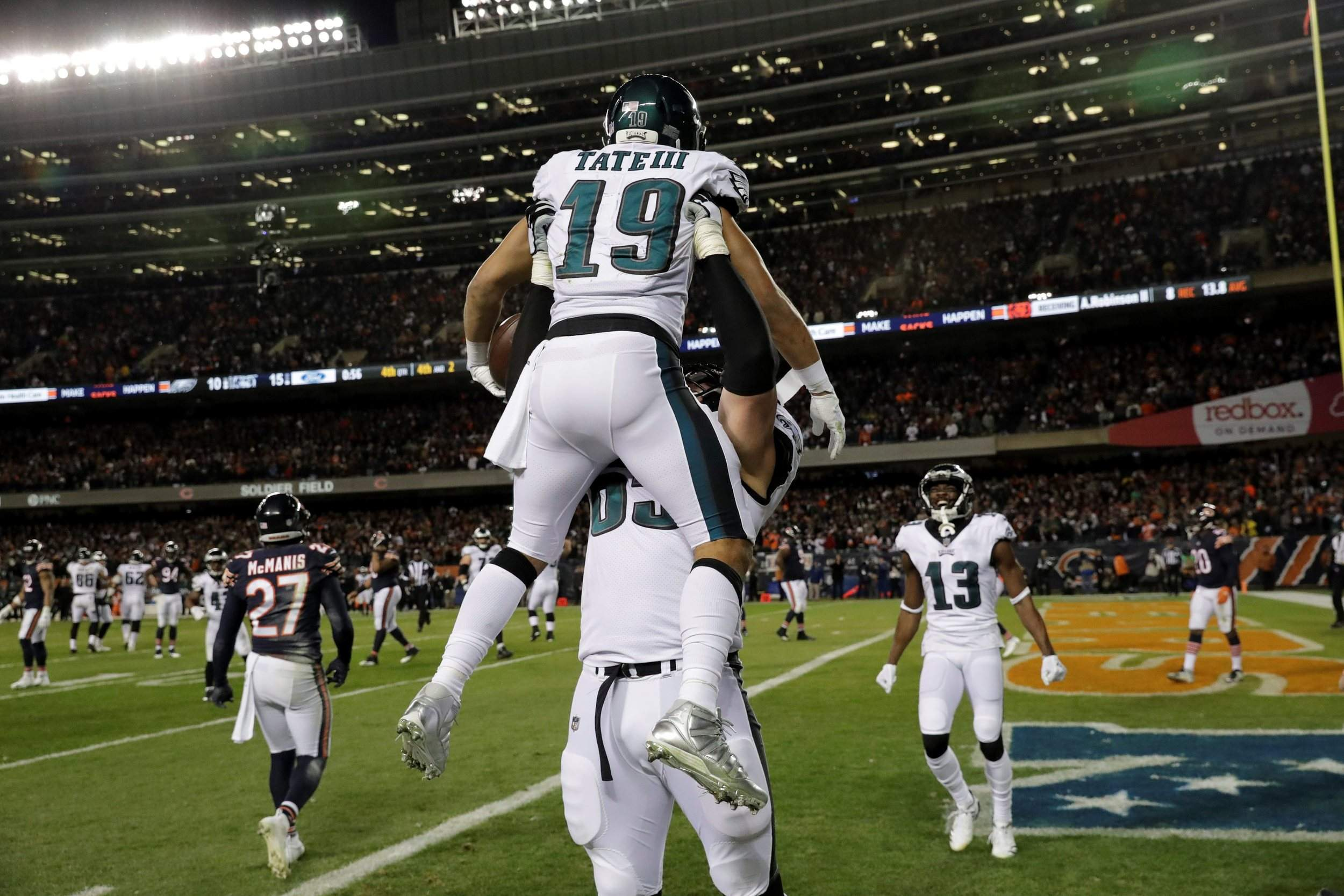 8c176740d Philadelphia Eagles wide receiver Golden Tate celebrates his touchdown  reception with offensive tackle Lane Johnson during the second half of an  NFC ...