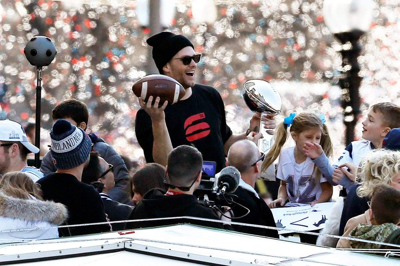 1627477eab88 ... rides a duck boat during the Patriots parade Tuesday through downtown  Boston to celebrate their win over the Los Angeles Rams in Sunday s Super  Bowl 53 ...