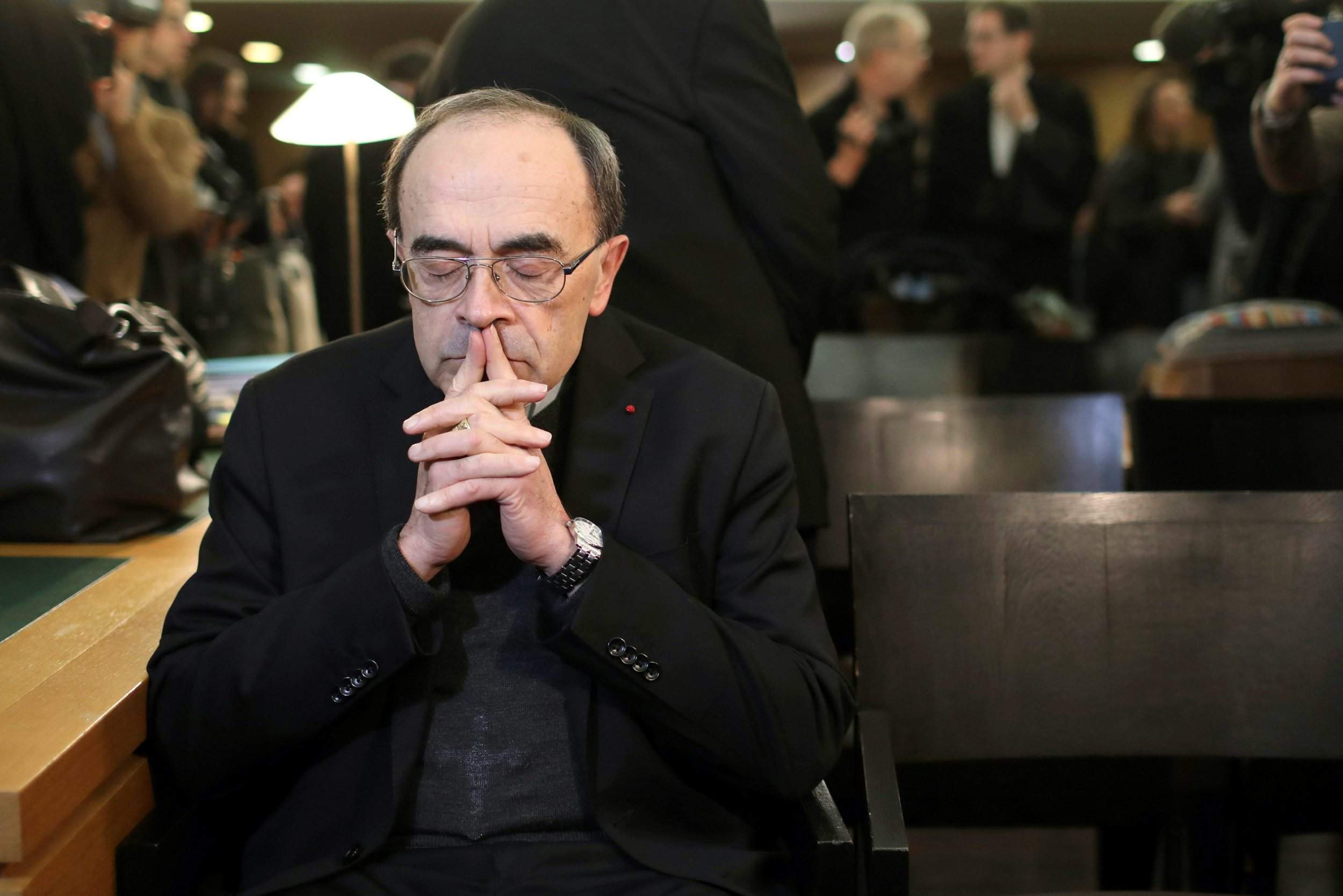 French Cardinal Philippe Barbarin waits for the start of his trial at the  Lyon courthouse, central France. Pope Francis' high-stakes sex abuse  prevention ...