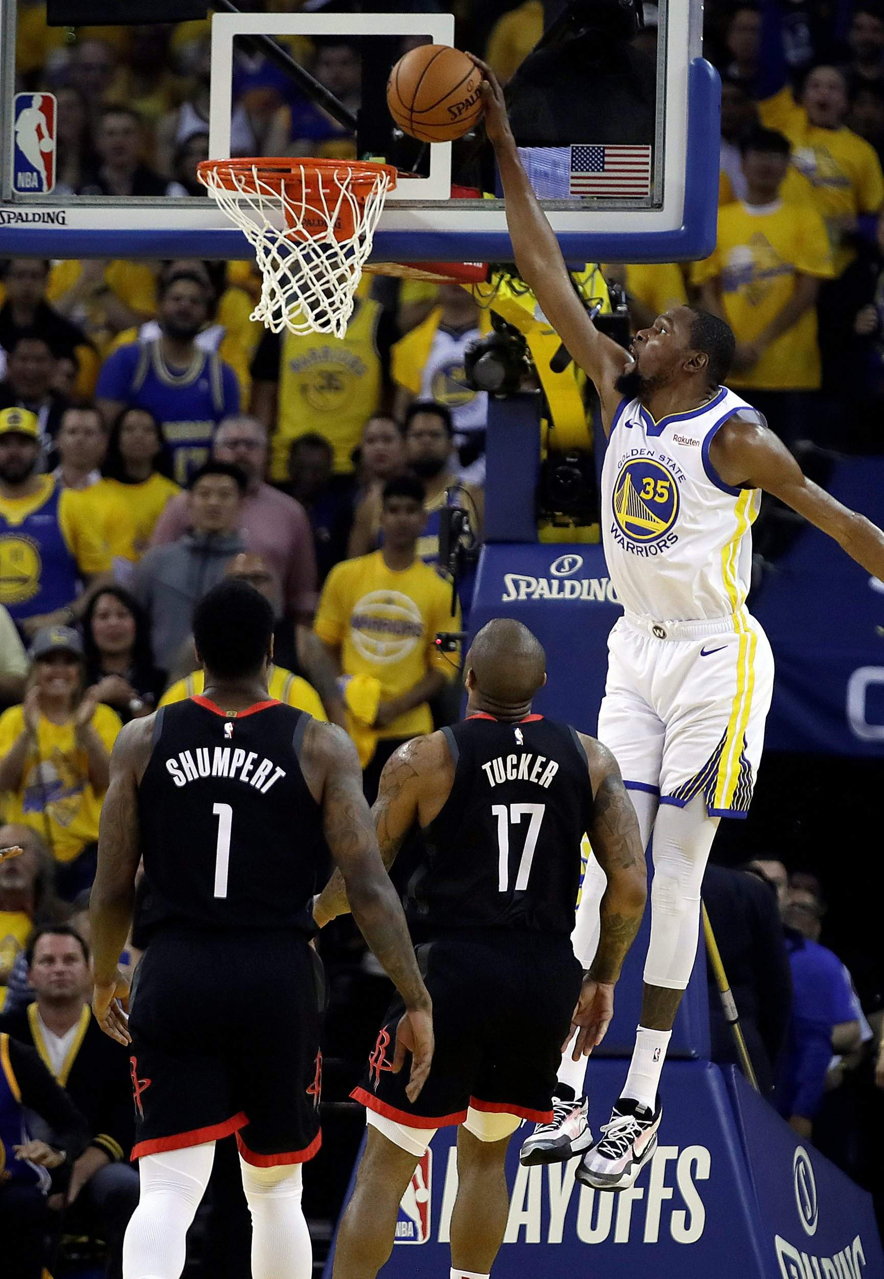 2cc66a89c372 Kevin Durant injured  Warriors hold off Rockets in Game 5