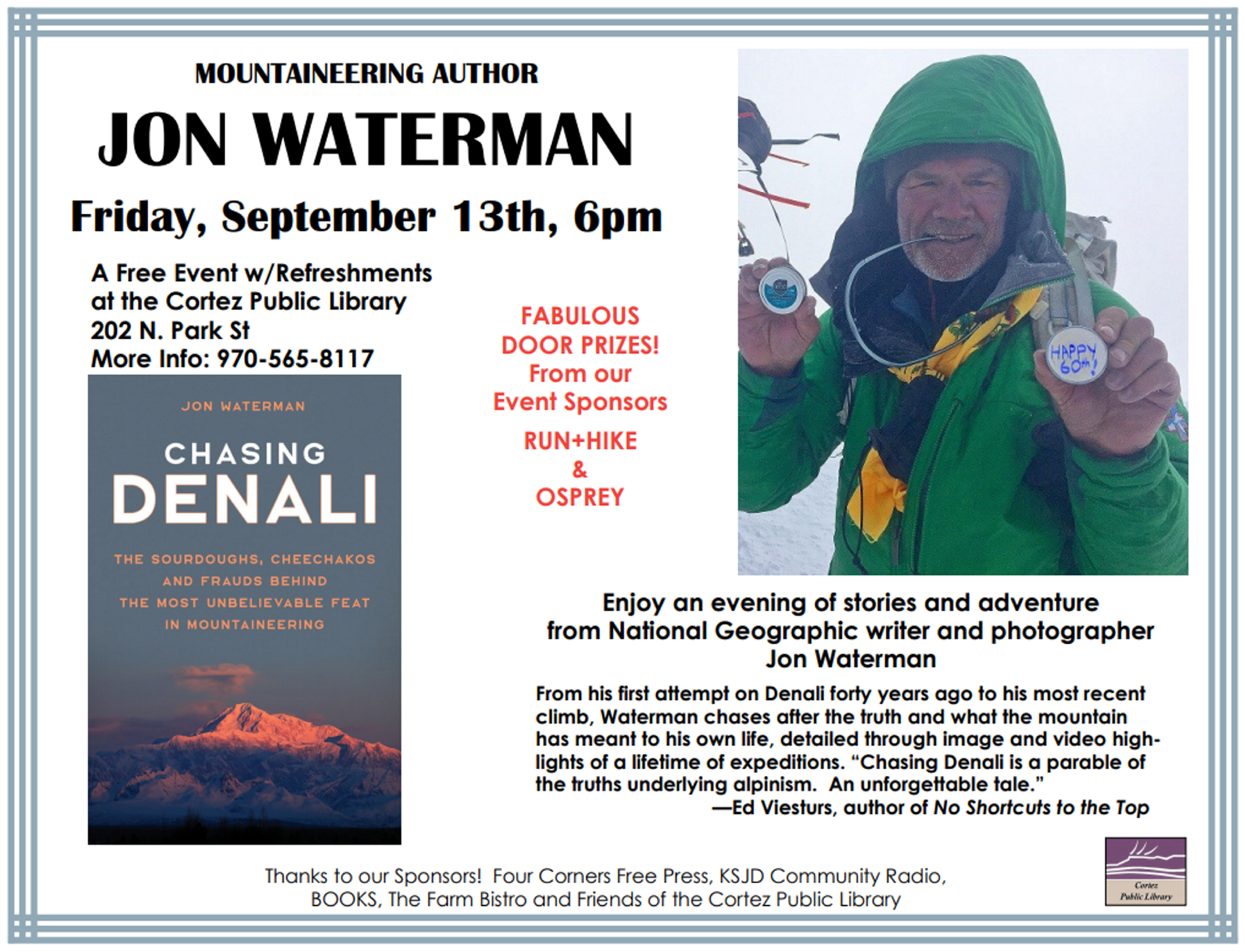 Mountaineering author Jon Waterman to visit Cortez Library